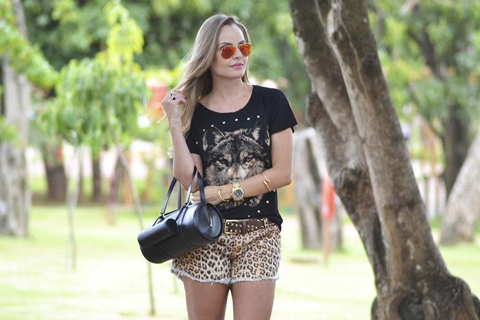 Look do dia: Animal Face Tee + Animal Print