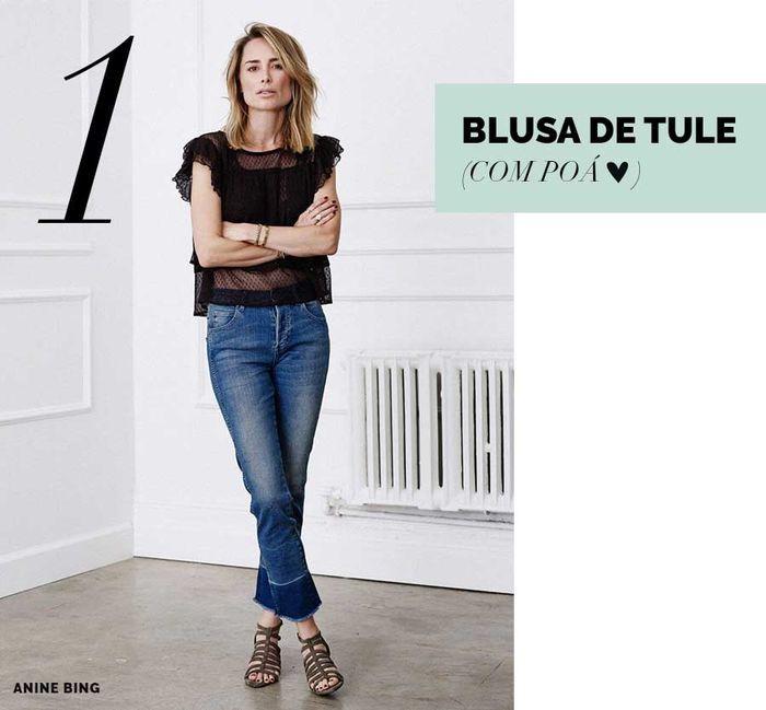 Layla Monteiro blusa de tule como usar tule com bolinhas poá anine bing