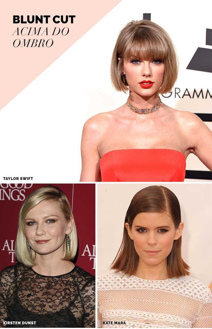 Layla Monteiro tendência blunt cut cabelo liso reto corte ombro Taylor Swift Kirsten Dunst Kate Mara