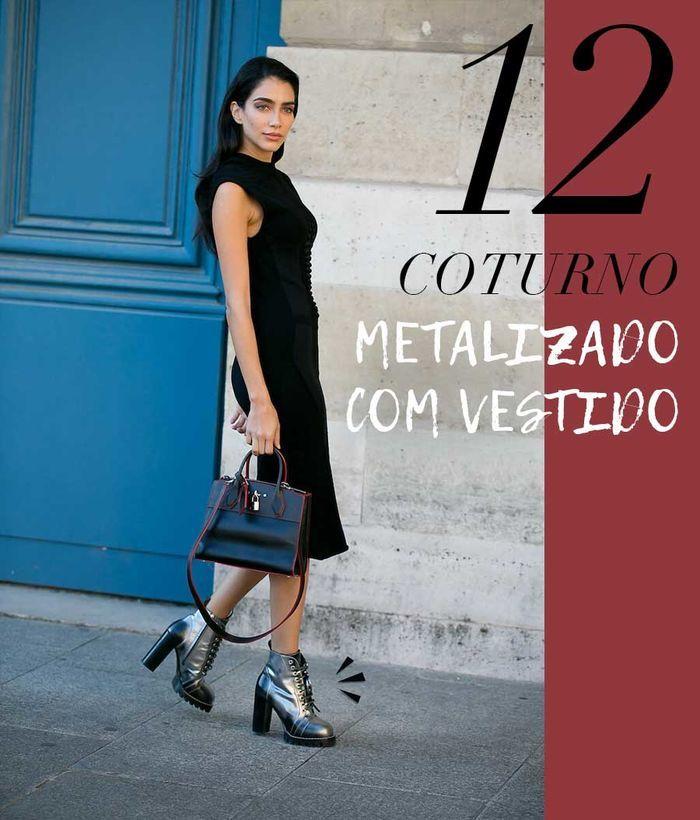 Layla Monteiro como usar coturno metalizado com vestido preto midi look ladylike
