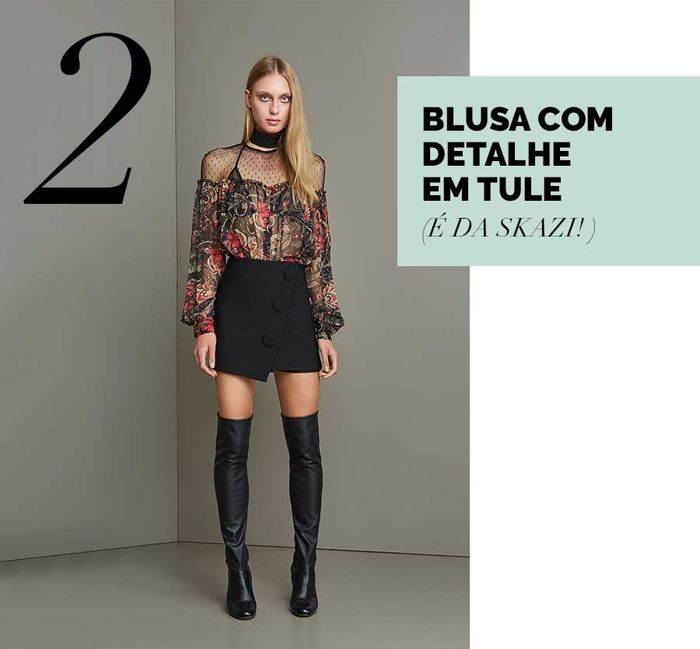Layla Monteiro blusa de tule como usar tule com bolinhas poá skazi