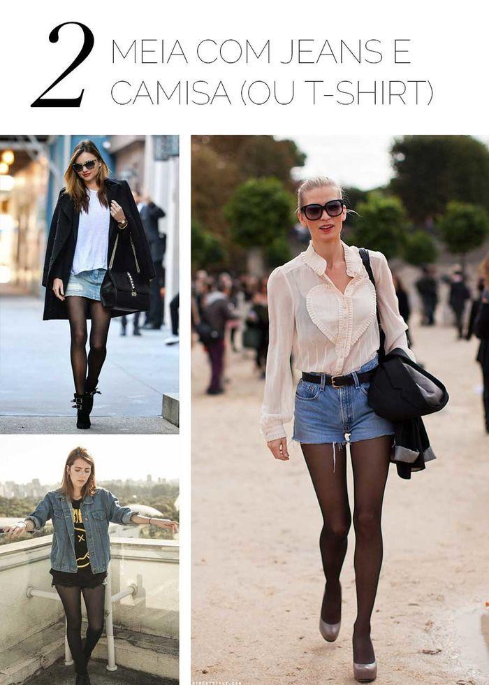 Layla Monteiro meia calça preta com jeans camisa t-shirt como usar