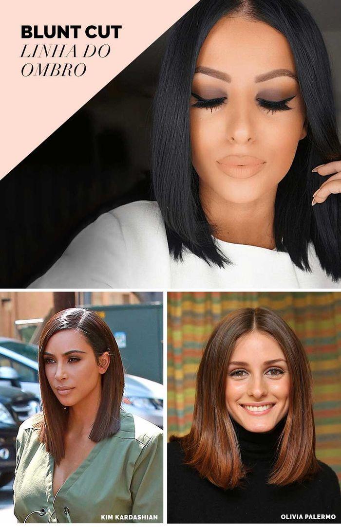 Layla Monteiro tendência blunt cut cabelo liso reto corte ombro Kim Kardashian Olivia Palermo