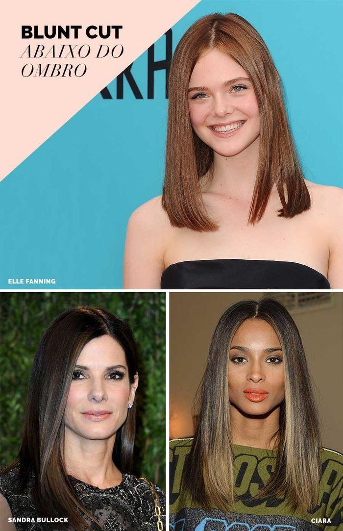Layla Monteiro tendência blunt cut cabelo liso reto corte abaixo do ombro Elle Fanning Sandra Bullock Ciara