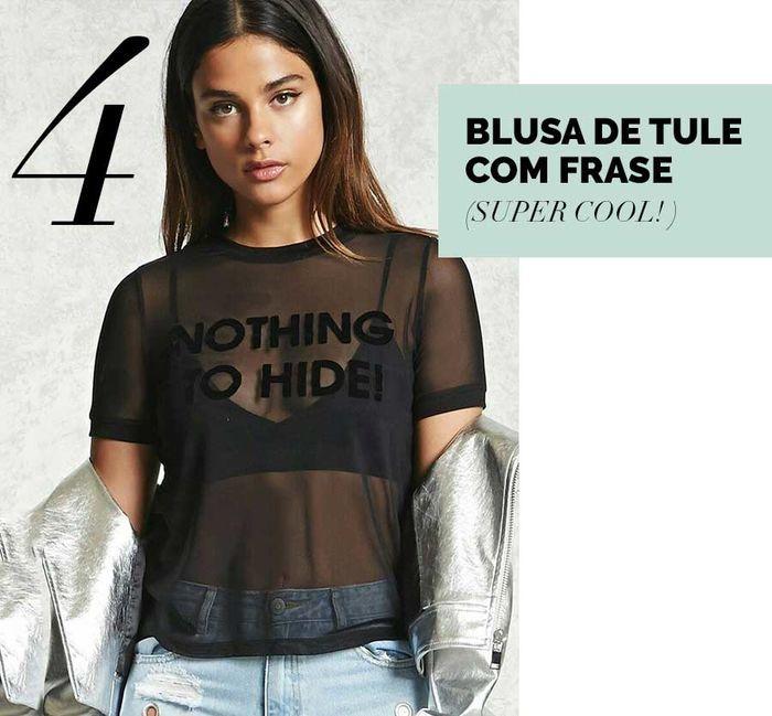 Layla Monteiro blusa de tule com frase transparência como usar