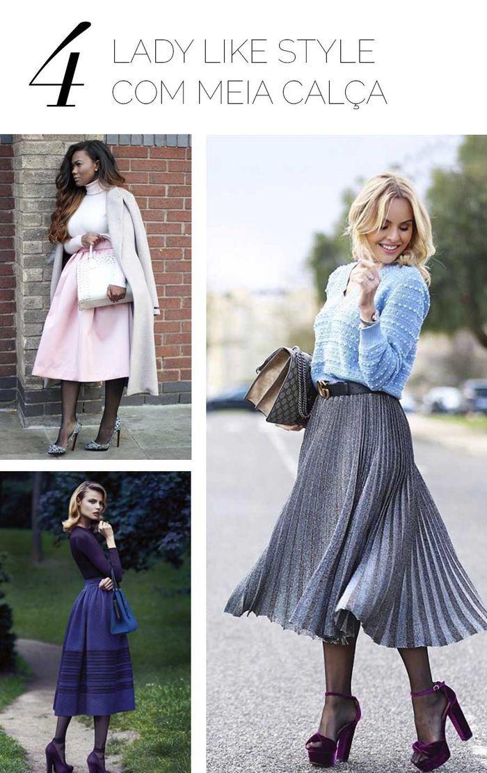 Layla Monteiro meia calça com saia midi lady like como usar
