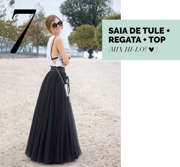 Layla Monteiro saia de tule preta com regata cavada branca e top look hi-lo como usar
