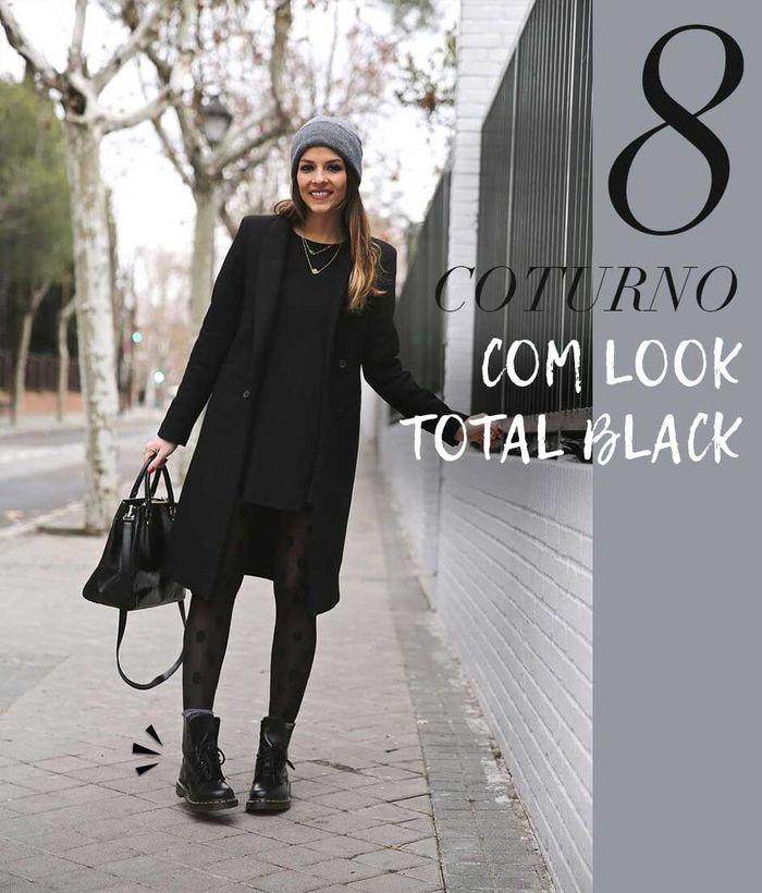 Layla Monteiro como usar coturno com preto look total black