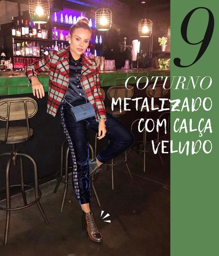 Layla Monteiro como usar coturno metalizado com calça veludo