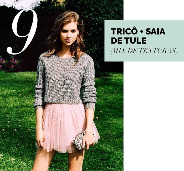 Layla Monteiro como usar saia de tule rosa claro rose com blusa de tricô