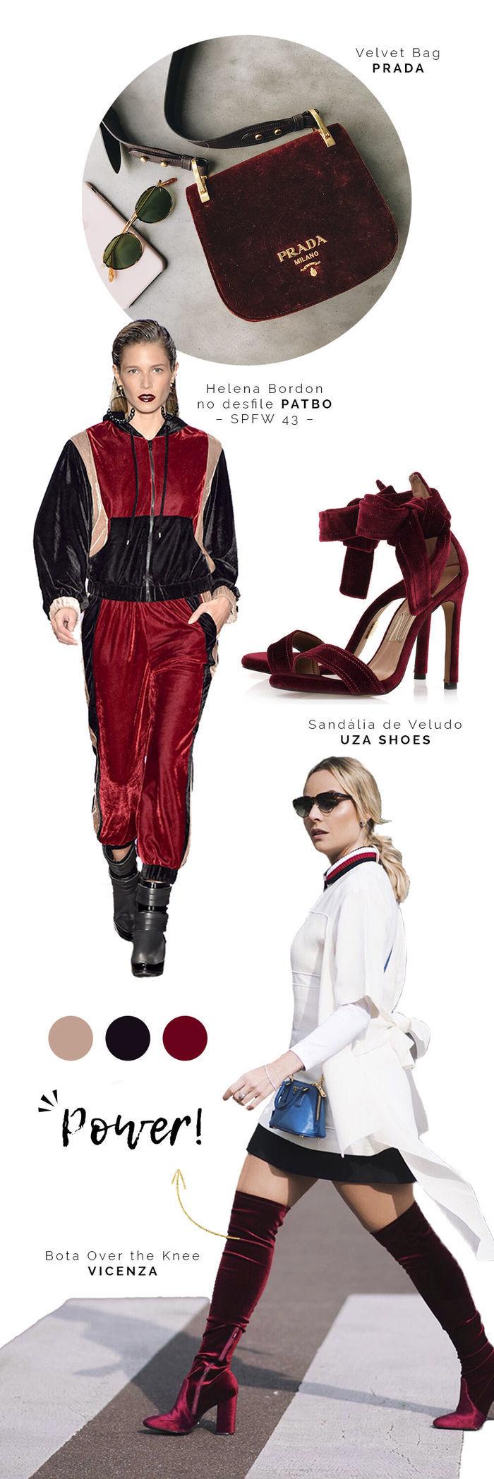 Layla Monteiro Look Inverno Veludo Tendencia PatBo Streetswear Bolsa Prada Sandália Over The Knee 2017