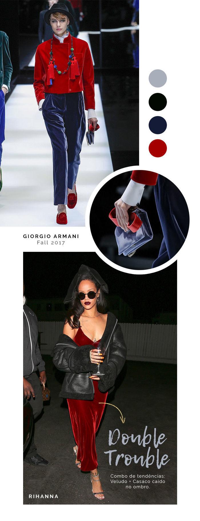 Layla Monteiro Look Inverno Veludo Tendencia Rihanna Armani Bag 2017