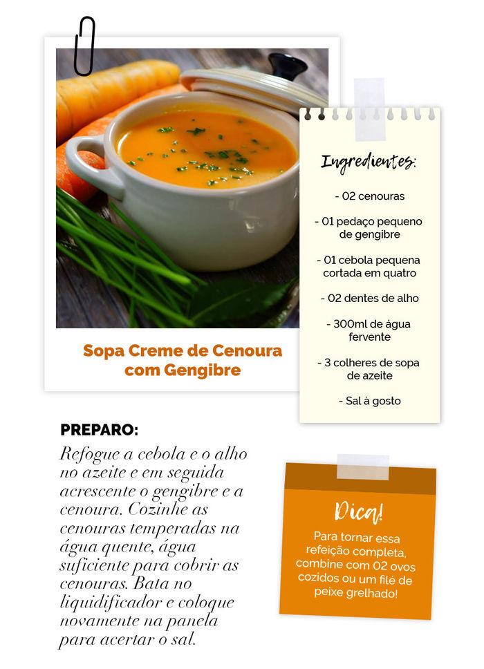 Layla Monteiro dá dicas de detox para depois da páscoa sopa creme de cenoura com gengibre vida saudável