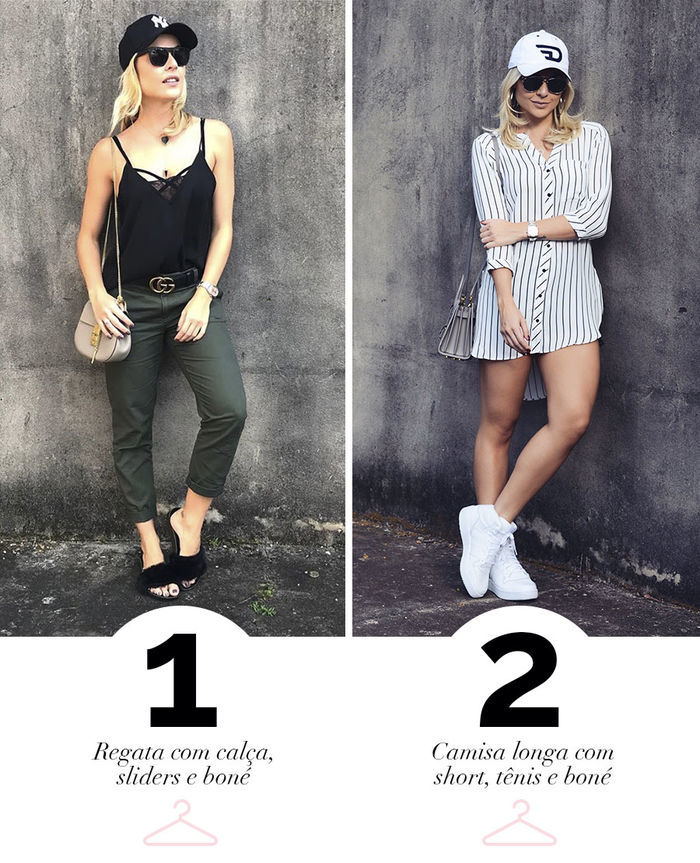 Layla Monteiro dica de look para usar no feriado calça com regata sliders camisa longa tênis boné