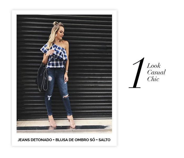 Layla Monteiro dicas de 10 looks para usar no domingo de páscoa jeans detonado destroyed blusa xadrez ombro só com salto