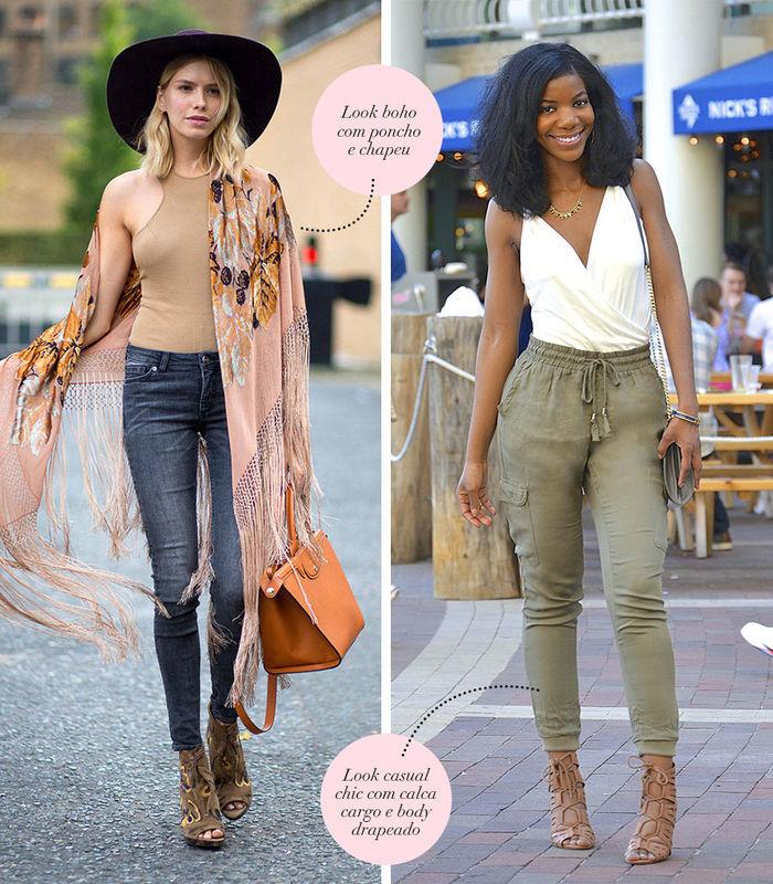 Layla Monteiro dá dicas de looks com body nude com poncho combinações com body branco drapeado com calça cargo verde militar