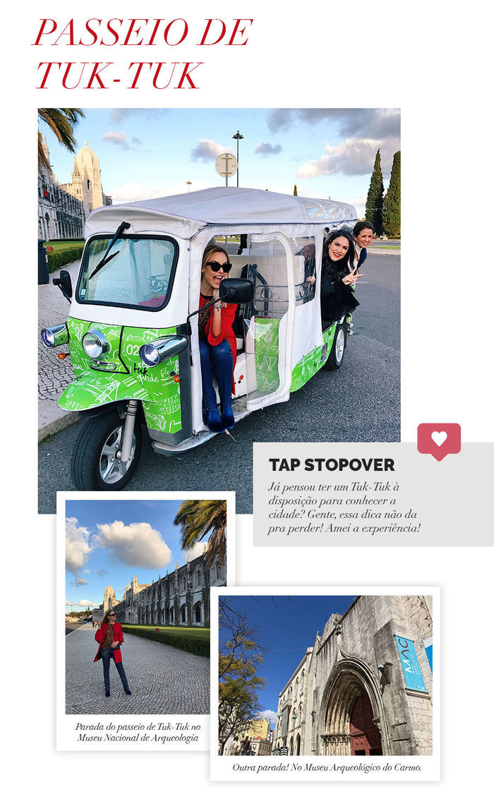 Layla Monteiro em Portugal viajar com companhia aérea TAP Portugal stopover passeio com tuk tuk como é