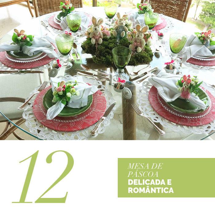 Blog Layla Monteiro dicas decoração páscoa mesa delicada e romântica rosa e verde com coelhos e flores