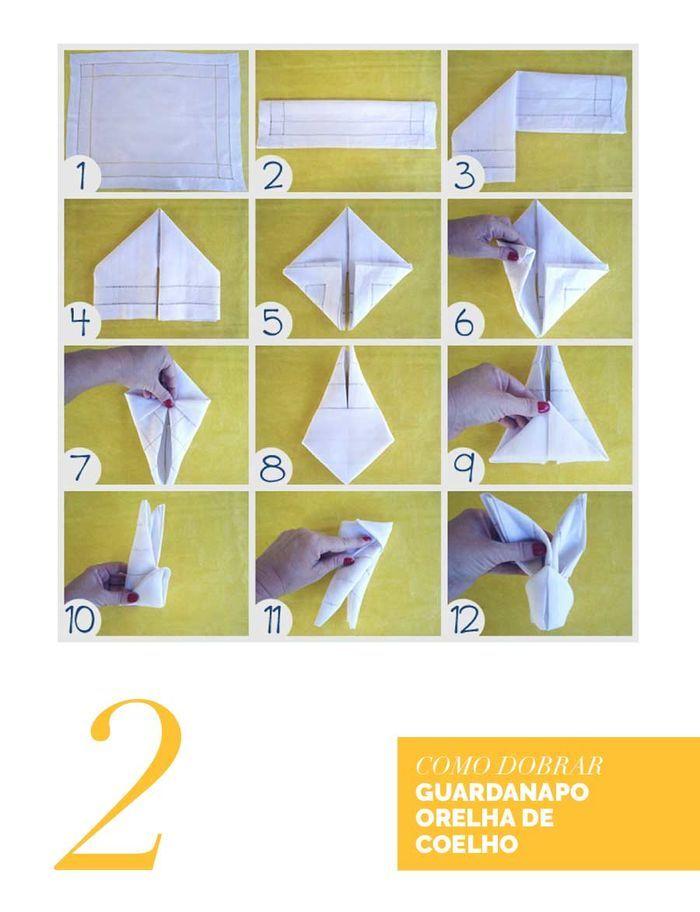 Blog Layla Monteiro dicas decoração Páscoa mesa posta coelho guardanapo tecido dobradura orelha de coelho
