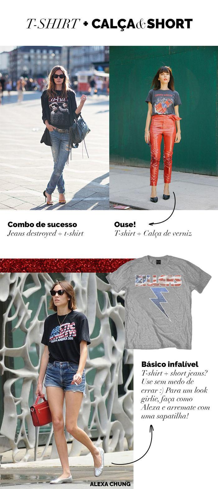 Layla Monteiro 8 looks com camiseta de banda com calça jeans destroyed rasgada com short jeans calça de verniz camiseta The Killers Arctic Monkeys Alexa Chung