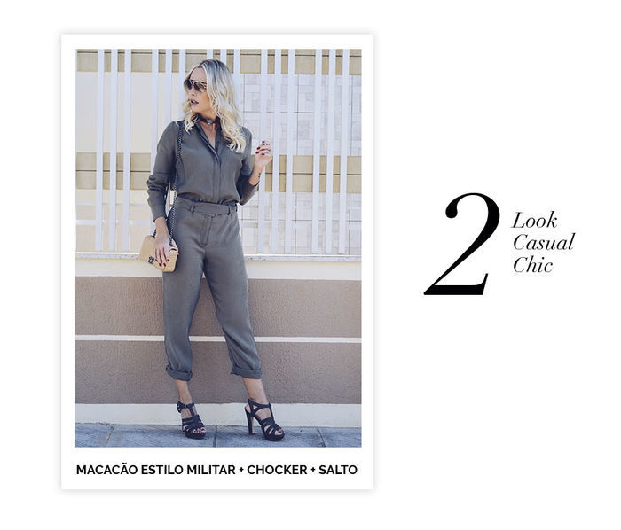 Layla Monteiro dicas de 10 looks para usar no domingo de páscoa macacão oversized estilo militar com salto chocker e bolsa pequena Chanel