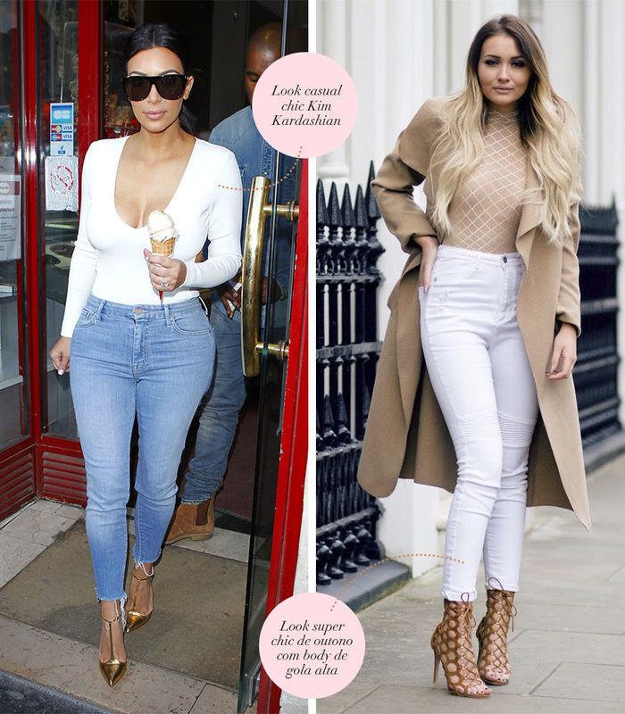 Layla Monteiro dá dicas de looks com body nude de gola alta com calça branca combinações com body branco manga longa com jeans Kim Kardashian