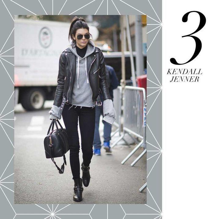 Layla Monteiro 11 dicas como usar moletom com casaco por cima jaqueta couro preta moletom cinza kendall jenner