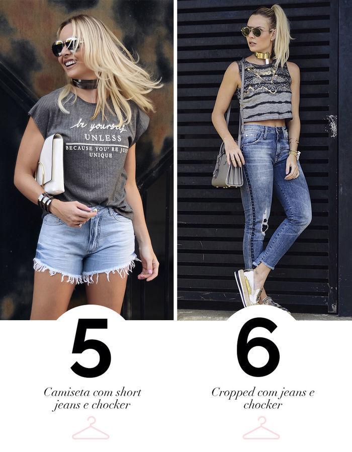 Layla Monteiro dica de look para usar no feriado short e calça jeans com camiseta cropped e chocker