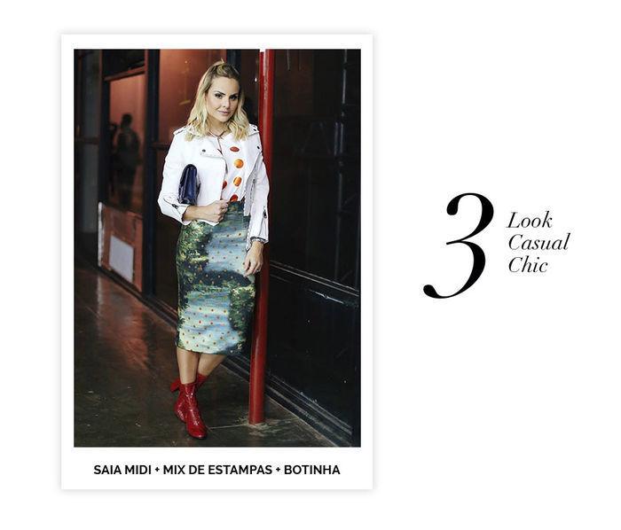 Layla Monteiro dicas de 10 looks para usar no domingo de páscoa mix de estampas poá saia midi jaqueta branca bota vermelha de verniz