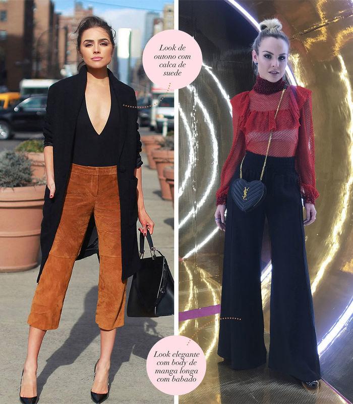 Layla Monteiro dá dicas de looks com body preto decote em v e calça de suede camelo look com body vermelho de manga longa com badados e pantalona preta