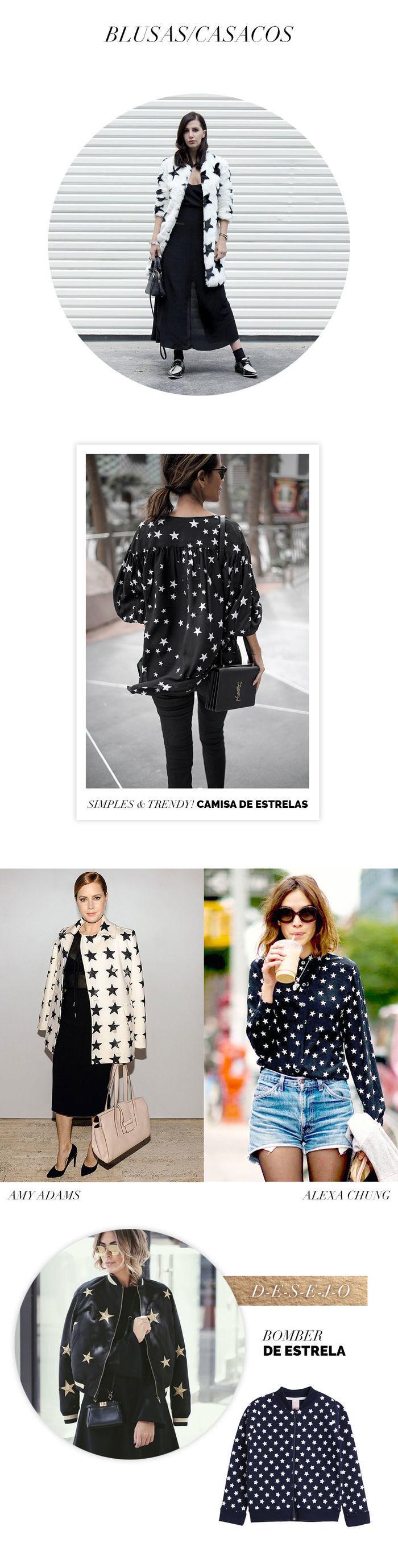 Layla Monteiro como usar look com estrela tendência acessórios casaco jaqueta bomber de estrela Alexa Chung Amy Adams casaco de pelo de estrela