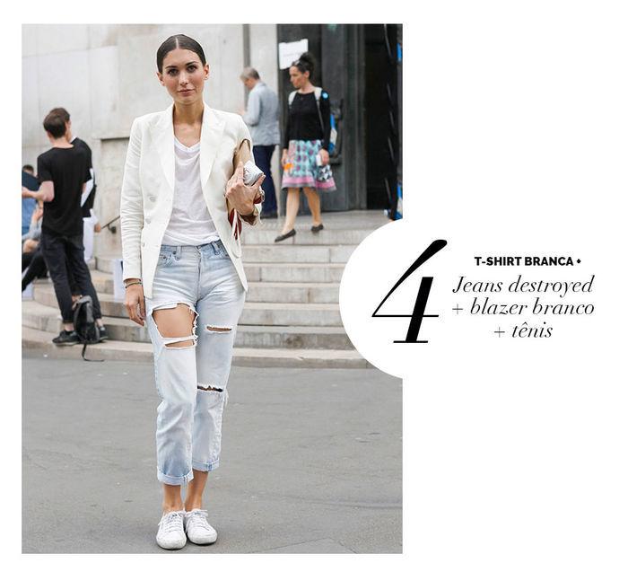 Layla Monteiro dá dicas de como usar e arrasar com tshirt camiseta branca jeans destroyed blazer branco e tênis branco