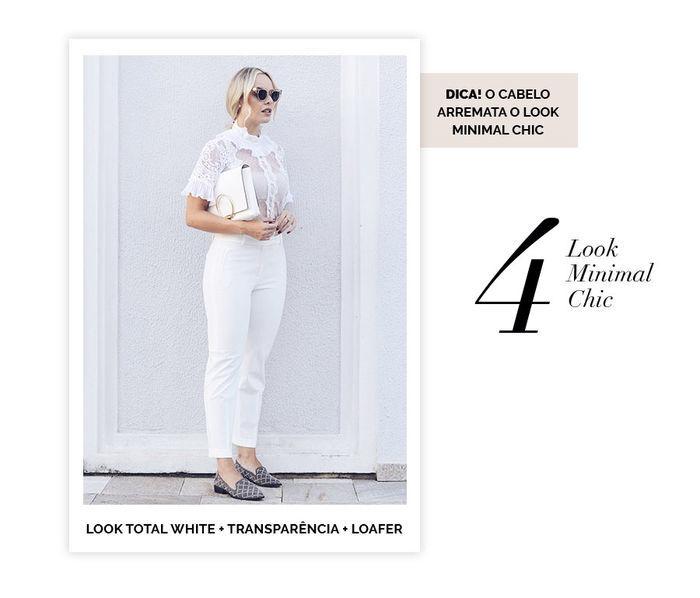 Layla Monteiro dicas de 10 looks para usar no domingo de páscoa look total white com blusa de tule de poá com calça branca e mocassim loafer