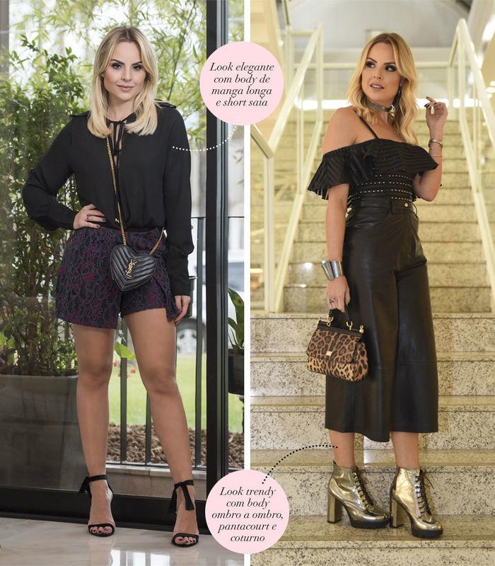 Layla Monteiro dá dicas de looks com body preto ombro a ombro pantacourt de couro preto coturno body camisa com short de cintura alta