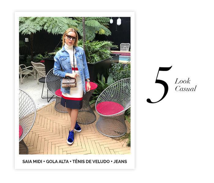 Layla Monteiro dicas de 10 looks para usar no domingo de páscoa look casual chic com saia midi gola alta tênis de veludo e jaqueta jeans
