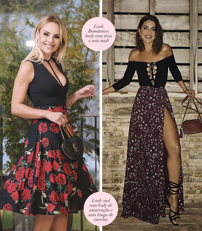 Layla Monteiro dá dicas de looks com body preto de tiras e saia midi de flores look camila coelho com saia longa de estrelas e body de amarração preto
