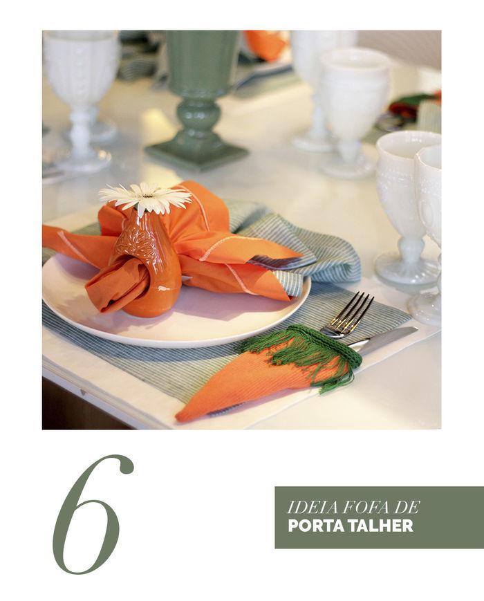 Blog Layla Monteiro dicas decoração páscoa mesa posta coelho decoração porta talher de cenoura tecido simples e fácil