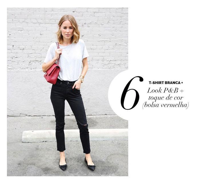 Layla Monteiro dá dicas de como usar e arrasar com tshirt camiseta branca com look preto e branco com toque de cor bolsa vermelha Chanel