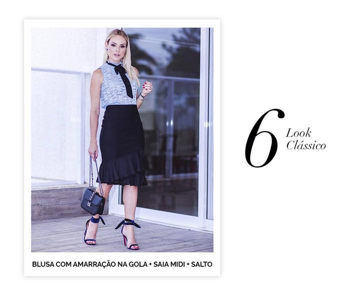 Layla Monteiro dicas de 10 looks para usar no domingo de páscoa look clássico blusa de renda com amarração de laço saia midi preta salto com laço no tornozelo bolsa pequena