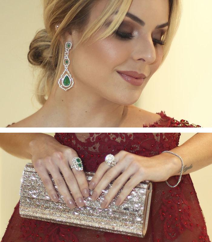 Layla Monteiro vestido Patricia Bonaldi longo bordado decote Amfar 2017 acessórios