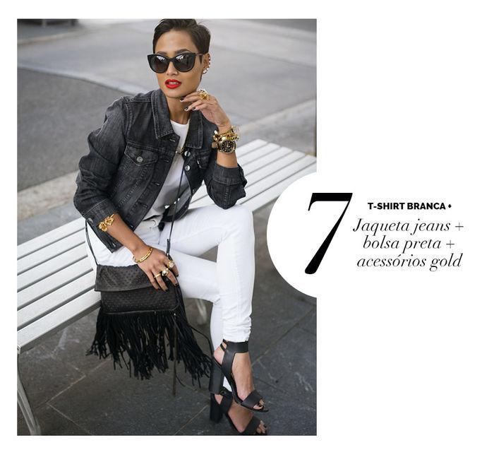 Layla Monteiro dá dicas de como usar e arrasar com tshirt camiseta branca com jaqueta jeans bolsa preta acessórios relógio dourado gold