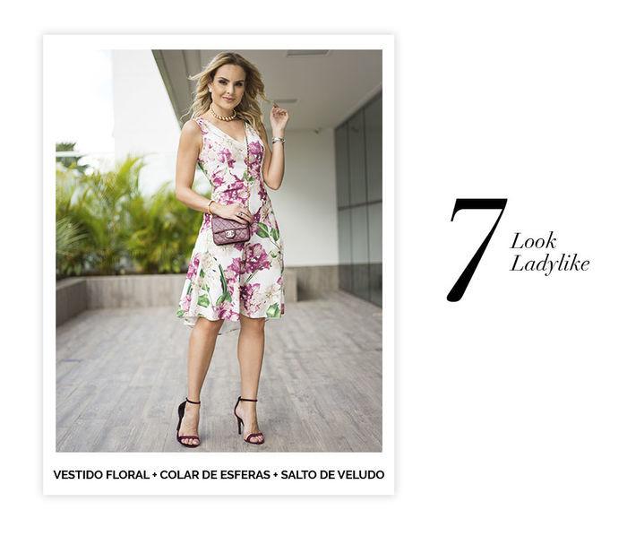 Layla Monteiro dicas de 10 looks para usar no domingo de páscoa look ladylike vestido midi floral com sandália de tiras de veludo vinho colar de bolas dourado bolsa pequena Chanel