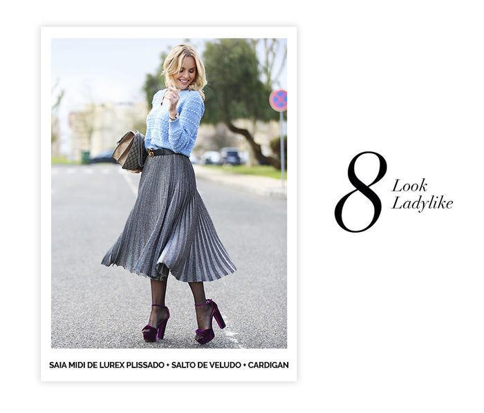 Layla Monteiro dicas de 10 looks para usar no domingo de páscoa saia midi plissada de lurex sandália de salto de veludo com meia calça e cardigan