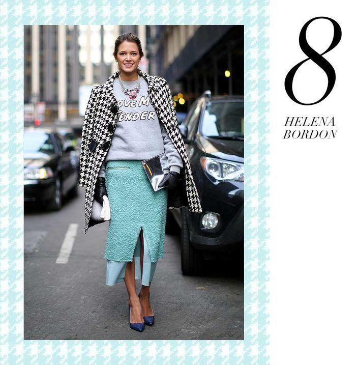 Layla Monteiro 11 dicas como usar moletom com casaco por cima casaco pied de poule com saia verde água helena bordon