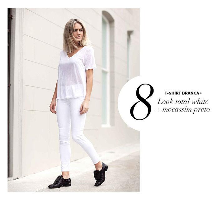 Layla Monteiro dá dicas de como usar e arrasar com tshirt camiseta branca com look total white calça branca com mocassim preto