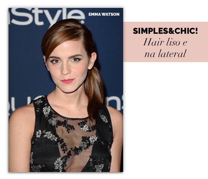 Layla Monteiro dicas rabo de cavalo baixo como usar na lateral liso Emma Watson