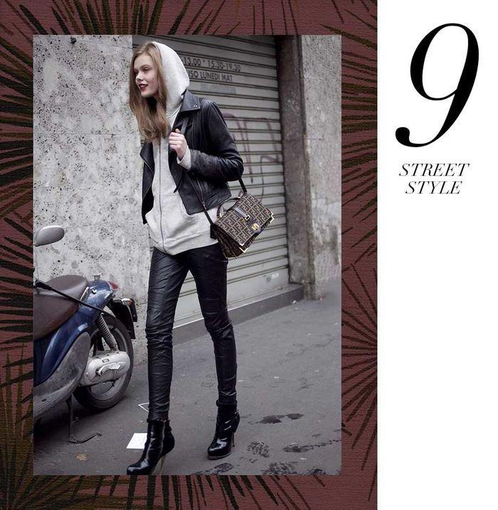 Layla Monteiro 11 dicas como usar moletom com casaco por cima jaqueta de couro preta com moletom cinza mescla