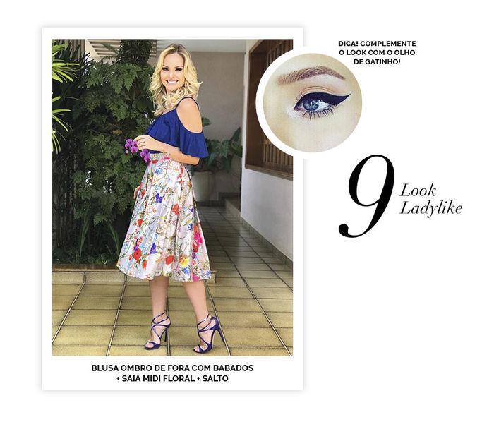 Layla Monteiro dicas de 10 looks para usar no domingo de páscoa look ladylike saia midi floral blusa ombro de fora azul com badados sandália de salto make olho de gatinho