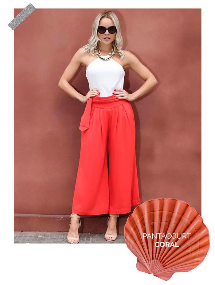 Layla Monteiro truque de estilo look com cor marcante pantacourt coral