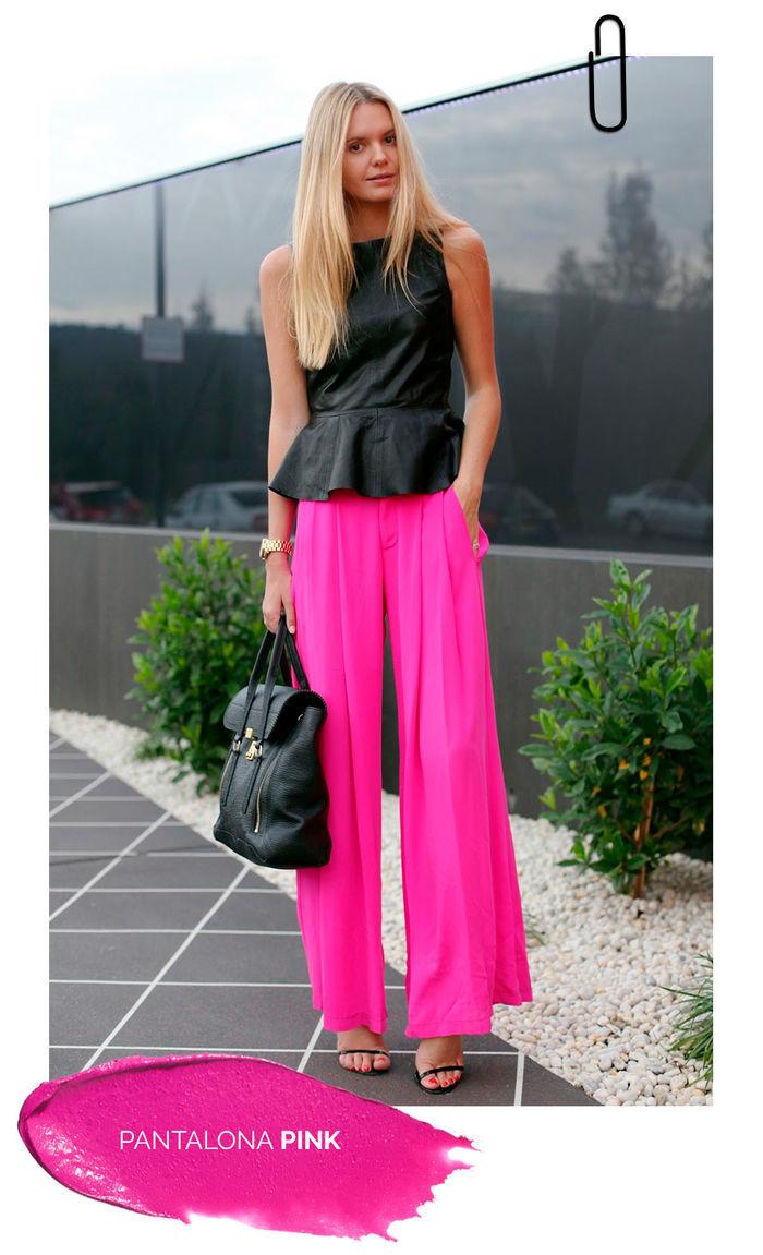 Layla Monteiro truque de estilo look com cor marcante calça pantalona rosa pink